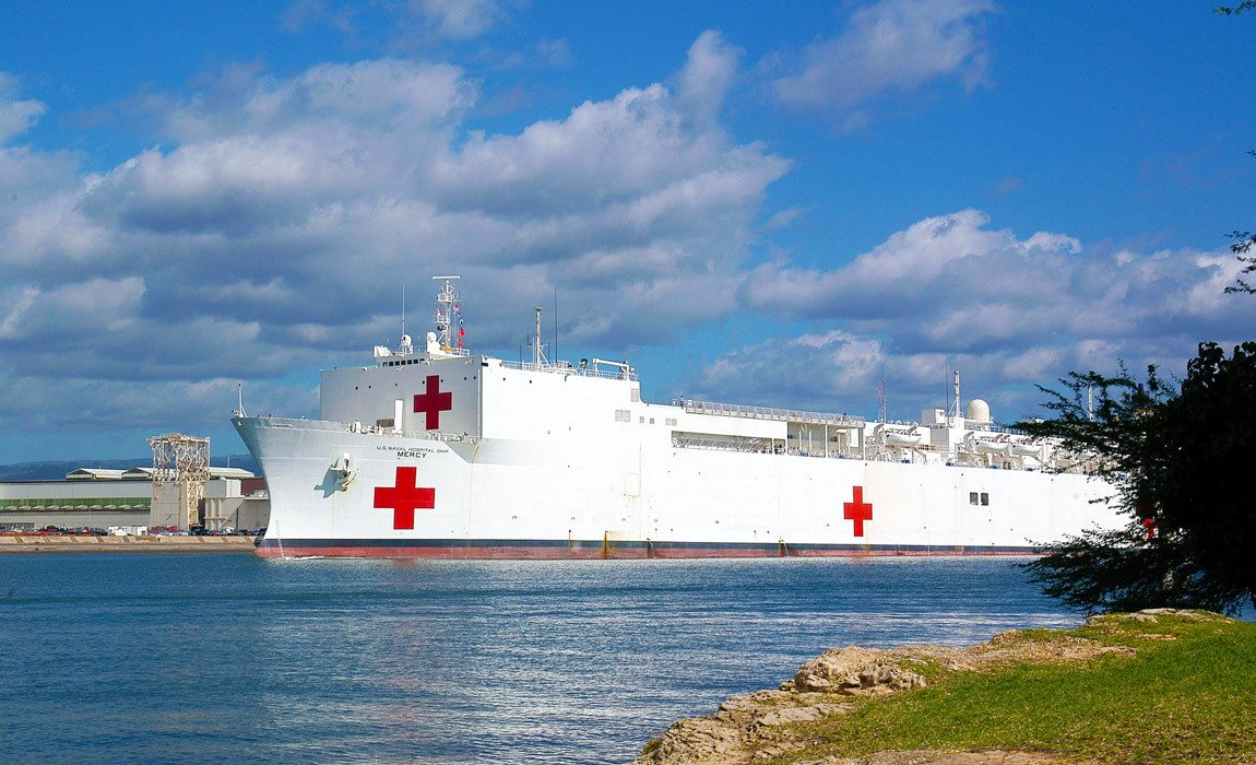 US Navy USNS Mercy Hospital Ship docked in Hawaii