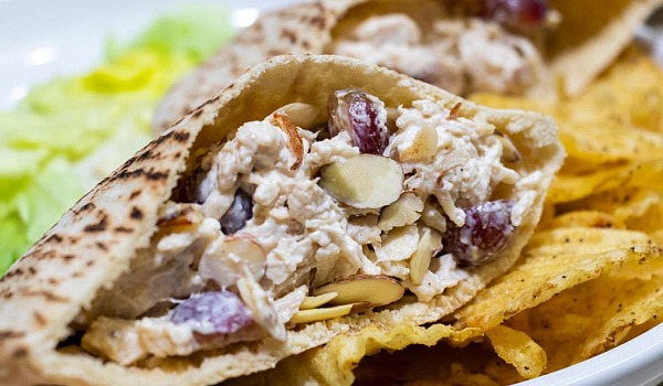 easy to make chicken salad with grapes and almonds pita sandwich recipe