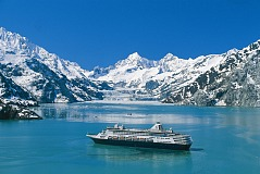 holland america cruise ship in alaska bay